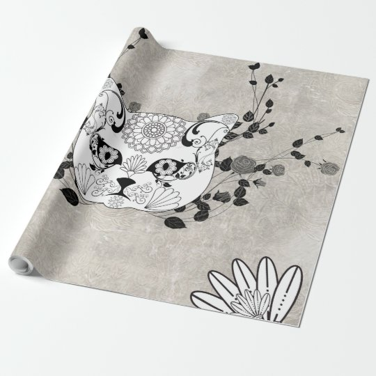 Wonderful sugar cat skull wrapping paper