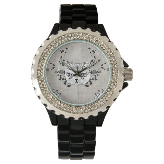 Wonderful sugar cat skull wrist watch