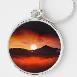 Wonderful Sunset Design Silver-Colored Round Keychain