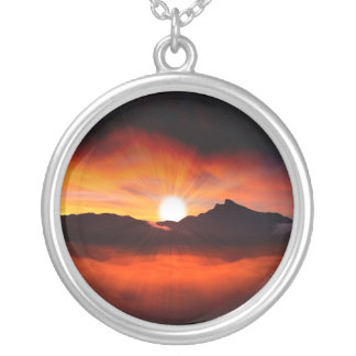 Wonderful Sunset Design Silver Plated Necklace