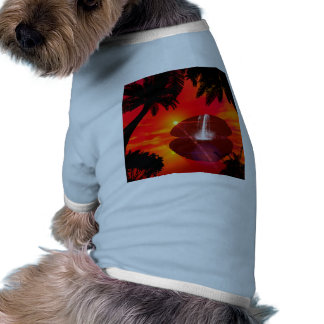 Wonderful sunset over the island doggie tshirt