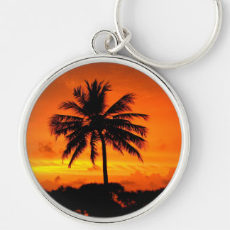 Wonderful Sunset Silver-Colored Round Keychain