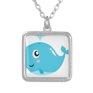 Wonderful t-shirts with Whale blue Silver Plated Necklace