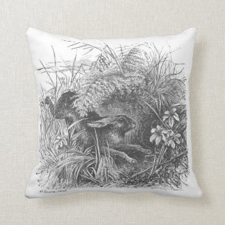 Wonderful vintage running rabbitt throw pillow! throw pillow
