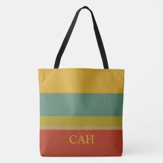Wonderful World Palette Stripe Monogram Tote Bag