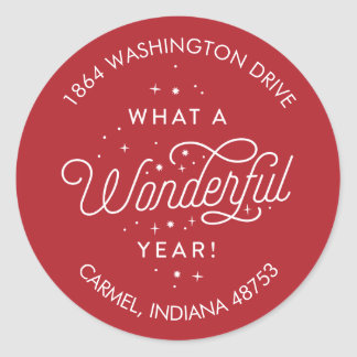 Wonderful Year Roung Holiday Return Address Label Round Sticker