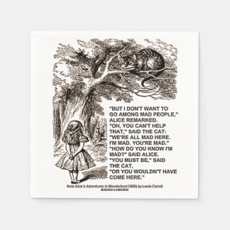 Wonderland Alice Go Among Mad People Quote Disposable Napkins