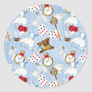 Wonderland Alice Pattern Classic Round Sticker