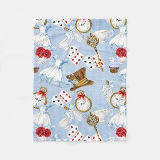 Wonderland Alice Pattern Fleece Blanket