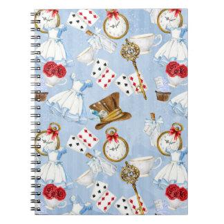 Wonderland Alice Pattern Spiral Notebook