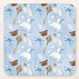 Wonderland Alice Pattern Square Paper Coaster