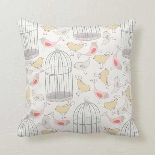 Wonderland Birds and Cages Pillow