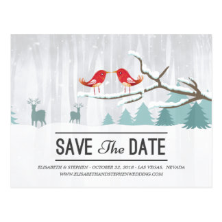 Wonderland Birds Deer Winter Wedding Save the Date Postcard
