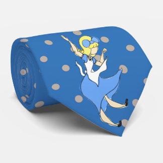 Wonderland Falling Alice Sketchy Pattern Tie