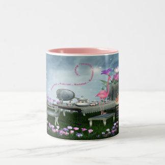 Wonderland Flamingo & Cheshire Cat Tea Party Two-Tone Coffee Mug