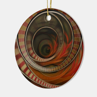 Wonderland Fractal Stairway, Three-Ringed Circus Ceramic Ornament