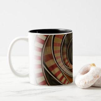 Wonderland Fractal Stairway, Three-Ringed Circus Two-Tone Coffee Mug