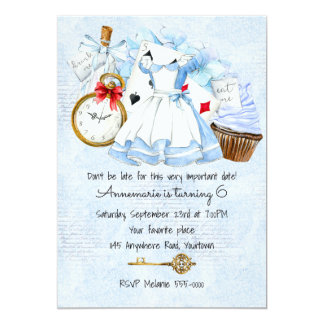 Wonderland in Blue Birthday Invitation