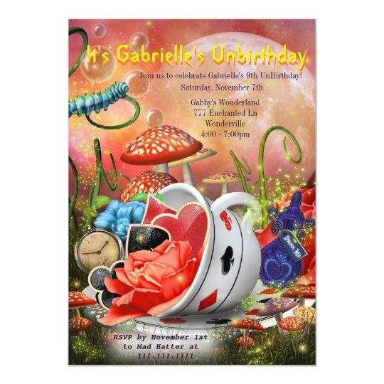 Wonderland Invitation, Wonderland Party Card