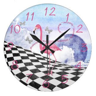 Wonderland Pink Flamingo Fantasy Clock