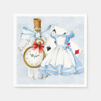 Wonderland Tea Party in Blue Disposable Napkins