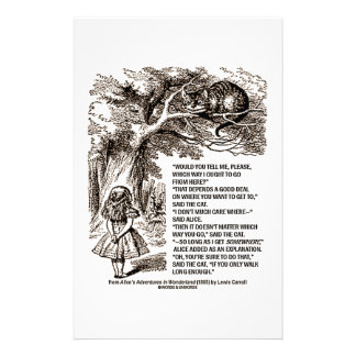 Wonderland Which Way I Ought To Go Quote Stationery