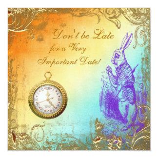 "Wonderland White Rabbit Baby Shower Tea Party 5.25"" Square Invitation Card"