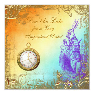 "Wonderland White Rabbit Bridal Shower Tea Party 5.25"" Square Invitation Card"