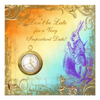 Wonderland White Rabbit Bridal Shower Tea Party Custom Announcements