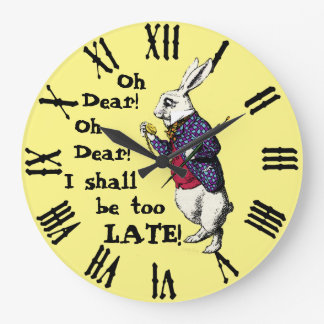 Wonderland White Rabbit Large Clock