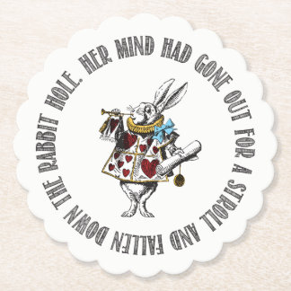 Wonderland White Rabbit Quote Paper Coaster