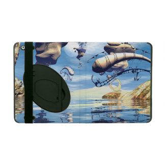 Wonderland with flying rocks over the ocean iPad cover