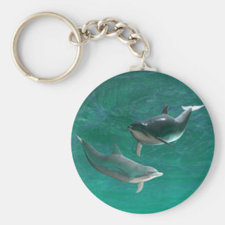 Wonderous Dolphins Basic Round Button Keychain