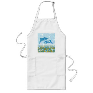 Wonderous Dolphins In The Sparkling Mystical Sea Long Apron