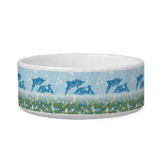 Wonderous Dolphins In The Sparkling Mystical Sea Pet Water Bowls