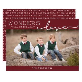 Wonders of His Love Custom Color Modern Christmas Card