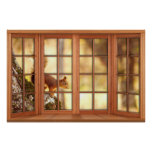 Wood 4 Pane Window Illusion - Squirrel Poster