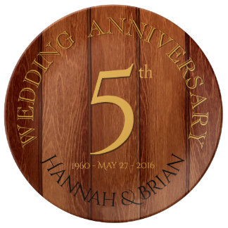 Wood 5th Wedding Anniversary porcelain plate