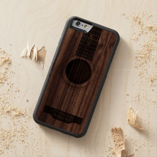 Wood Acoustic Guitar Strings and Sound Hole Walnut iPhone 6 Bumper
