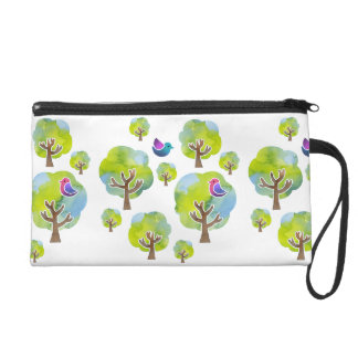 < Wood and bird (water color) circle > Trees and Wristlet Clutch