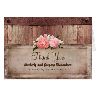 Wood and Burlap Rustic Floral Wedding Thank You Card