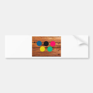 Wood and colour bumper sticker