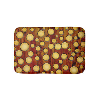 Wood and gold bathroom mat