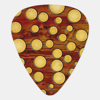 Wood and gold guitar pick
