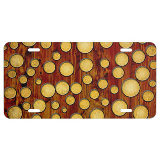 Wood and gold license plate
