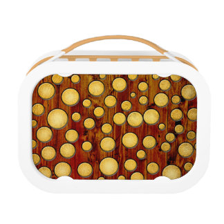 Wood and gold lunch box