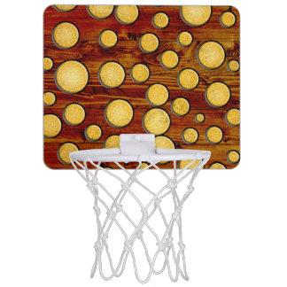 Wood and gold mini basketball hoop