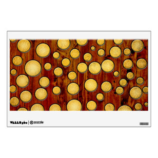 Wood and gold wall decal