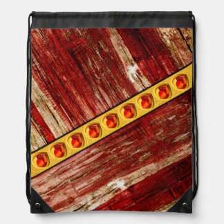 Wood and jewels drawstring bag