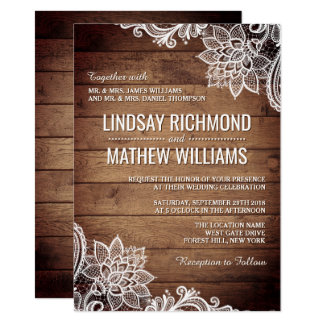 Wood and Lace | Country Rustic Wedding Invitation